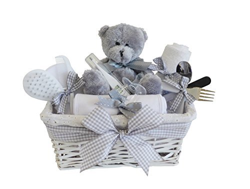 Shimmer wicker unisex baby gift basket baby hamper baby shower shimmer wicker unisex baby gift basket negle Images